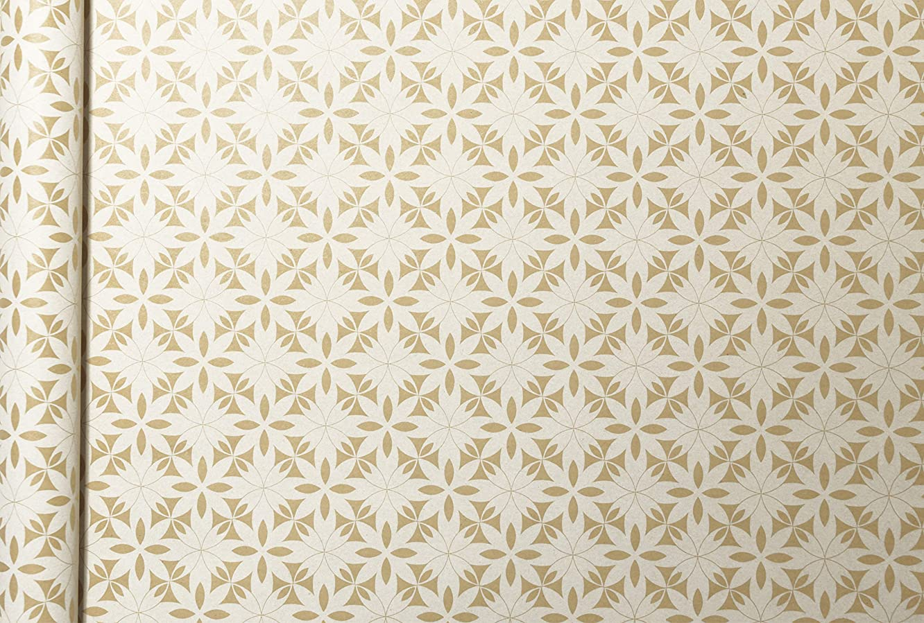 Clairefontaine 223830C 5 x 0.35 m Kraft Wrapping Paper - White Flowers