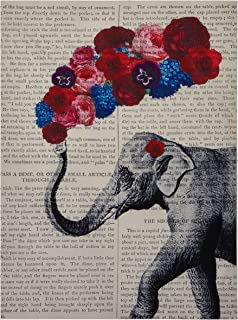 ENCOFT Cute Elephant Tapestry Newspaper Background Elephant with Colorful Flowers Beautiful Wall Hanging Tapestries for Bedroom and Living Room (60