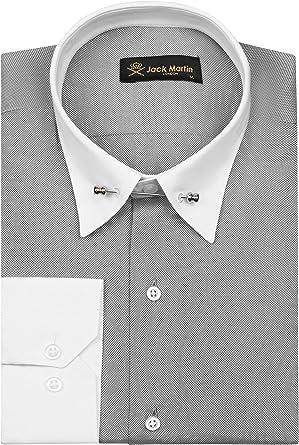 Jack Martin - Camisa de cuello de alfiler de ajuste delgado para hombre, camisas de negocios, bodas y vestido con barra de cuello