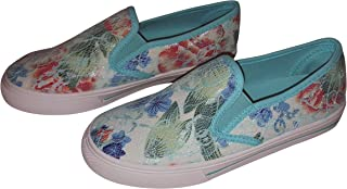 Cammie Women's Trendy Casual Canvas Lace Floral Print Slip on Sneaker Shoes