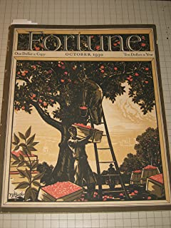 Fortune MAGAZINE, October 1930, volume II, Number 4 with Color SALMON YELLOW Brown Cover of Men in Orchard picking Apples in Crates & One on Ladder in tree,
