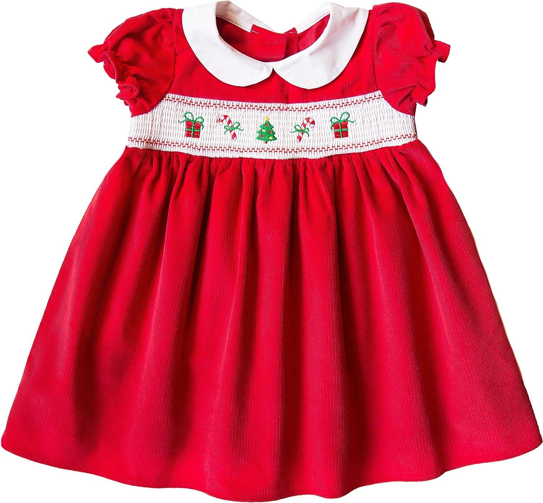 Good Lad Newborn/Infant Girl Red Corduroy Smocked Christmas Dress