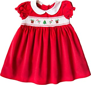 Toddler Girls Red Corduroy Christmas Motif Smocked Dress