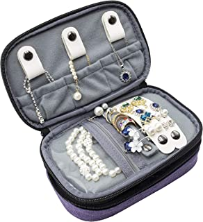 ProCase Jewelry Case Travel Organizer Bag, Soft Padded Double Layer Jewelry Carrying Pouch Portable Jewelry Storage Holder for Earrings, Rings, Necklaces, Bracelet and Chains –Purple
