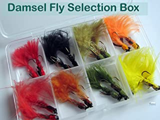 BestCity Fly Fishing Flies Damsel Assortment Box of 16 Flies for Trout Fishing #305