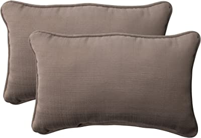 "Pillow Perfect Outdoor/Indoor Forsyth Shattake Lumbar Pillows, 11.5"" x 18.5"", Taupe, 2 Pack"