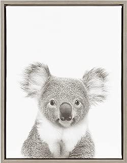 Kate and Laurel Sylvie Koala Framed Canvas by Simon Te Tai, 18x24, Gray
