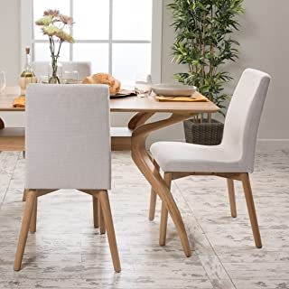 Christopher Knight Home Helen Mid Century Modern Dining Chair (Set of 2), Light Beige