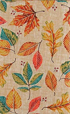 """Mainstream International Colorful Autumn Leaves Vinyl Flannel Back Tablecloth (52"""" x 70"""" Oblong)"""