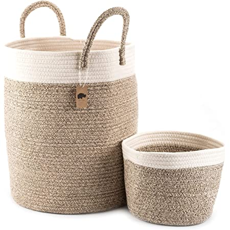 "Little Hippo 2pc Large Cotton Rope Basket, White (16""x15"") 100% Natural Cotton! Laundry Basket, Woven Storage Basket, Blanket Basket Living Room, Toy Storage Basket, Pillow Basket, Round Basket"