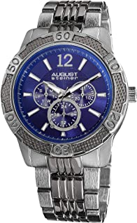 August Steiner Men's Large Fashion Watch - Blue Dial with Day of Week, Date, and 24 Hour Subdial on Silver Band - AS8058