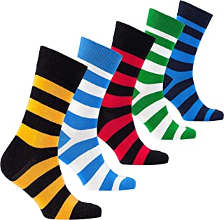 Mens 5pair Luxury Colorful Cotton Fun Novelty Dress Socks Gift Box