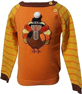 Dana Kids Thanksgiving Turkey Applique Boys Sweater 12M-8 Years