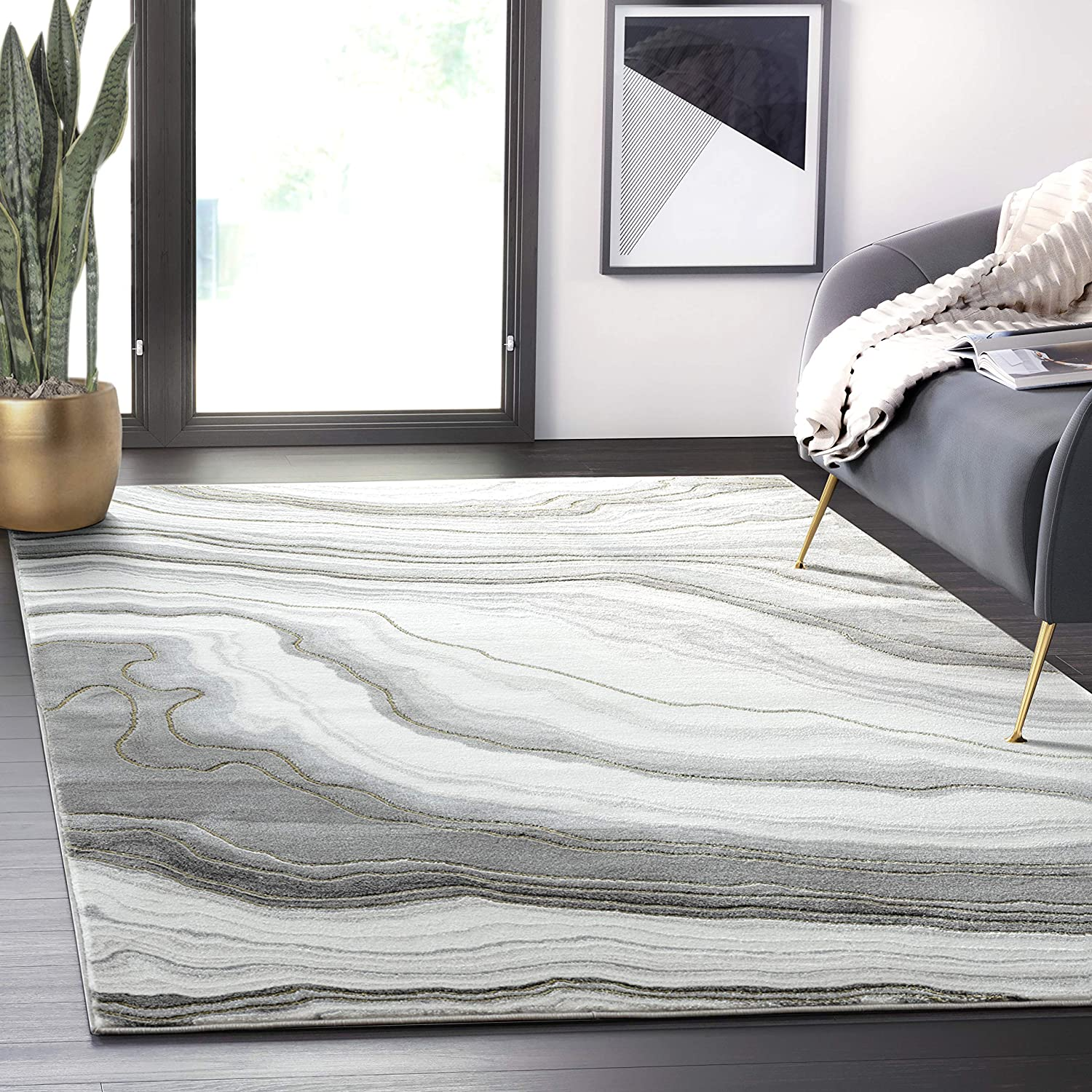 Abani Rugs Contemporary Grey Gold Granite 4' M trend rank Area Purchase 6' x Rug -