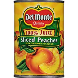 Del Monte Canned Yellow Cling Sliced Peaches in 100% Fruit Juice, 15-Ounce