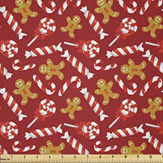Lunarable Candy Cane Fabric by The Yard, Gingerbread Man and Sweets Traditional Christmas New Year, Microfiber Fabric for ...