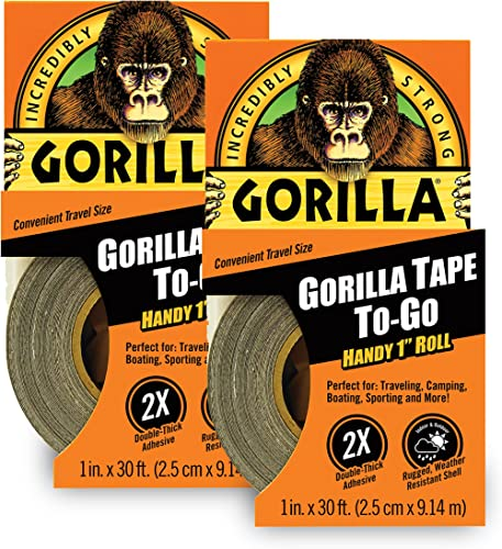 "Gorilla Tape, Mini Duct Tape to-Go, 1"" x 10 yd Travel Size, Black, (Pack of 2)"