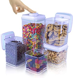 iChewie - BopTop (5pc Set) Airtight Food Storage Container – Mechanical Silicone Seal Canister - BPA-Free Stackable - 2.5Q...
