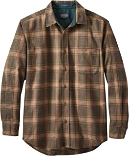 Men's Long Sleeve Button Front Classic Lodge Shirt, Brown Mix/Forest Green Plaid, Large