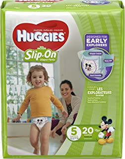 HUGGIES Little Movers Slip On Diaper Pants, Size 5, 20 Count, JUMBO PACK (Packaging May Vary)