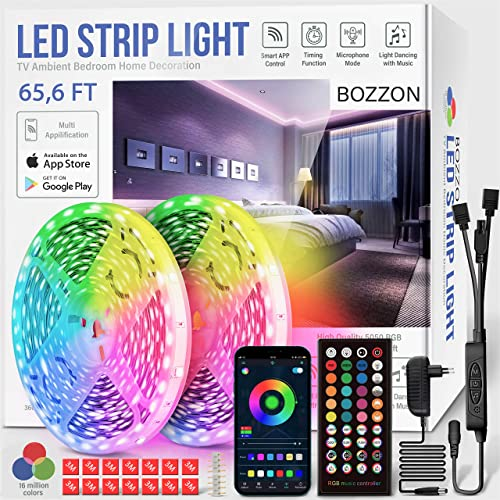 Led Strip Lights for Bedroom RGB 65.6ft Long Smart LED Bluetооth Music Sync Color Changing Led Strip Lights w/ Remote...