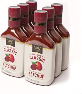 Traina Home Grown Gourmet Classic California Sun Dried Tomato Ketchup - Rich in Lycopene, Low Sodium, Gluten Free, Kosher Certified Packed in 16 Ounce Bottle (pack of 6)