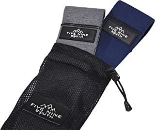 Five Nine South Premium Hip Resistance Bands | Set of Two (Each Band Different Material) Non-Slip Fabric Cloth Heavy Duty Cotton Bands | Tone, Activate, Sculpt & Build Glutes, Quads, Hips, Abductors.
