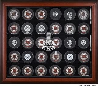 Washington Capitals 2018 Stanley Cup Champions Mahogany Framed 30-Puck Logo Display Case - Hockey Puck Logo Display Cases