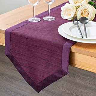 The White Petals Plum Dresser Scarf Table Runners (Faux Silk, V-End Border, 14x36 inch, Pack of 1)