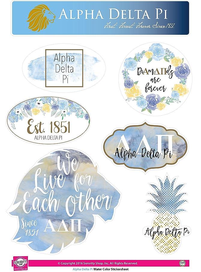 Alpha Delta Pi - Sticker Sheet - Watercolor Theme