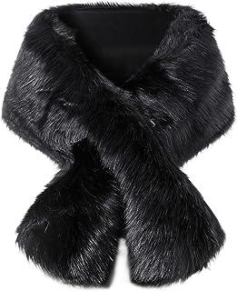 BABEYOND Womens Faux Fur Collar Shawl Faux Fur Scarf Wrap Evening Cape for Winter Coat