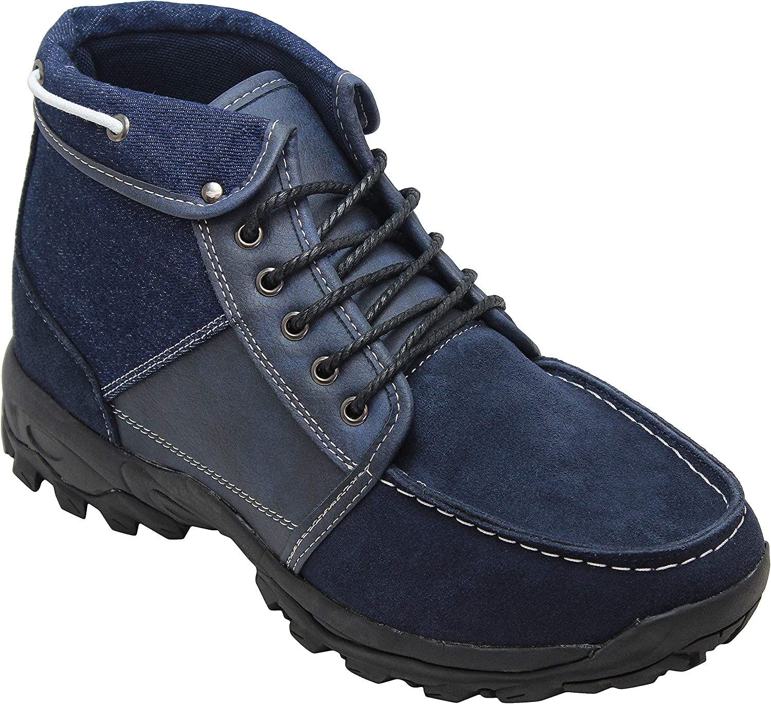 CALTO Men's Invisible Height Increasing Elevator shoes - bluee Canvas Suede Lace-up Hiking Style Ankle Boots - 3.3 Inches Taller - H224314