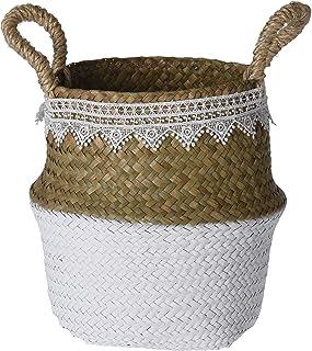 MIJOMA Panier en jonc de mer tressé pliable idéal comme panier décoratif, panier à magazines, panier à linge, pot de fleur...