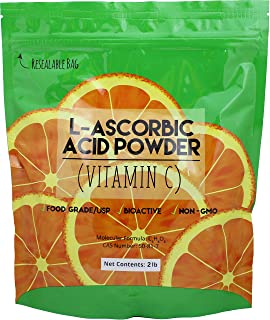 Duda Energy asc2 Bag of L-Ascorbic Acid Powder, 2 lb, 99+% Food Grade USP36/BP2012 Naturally Fermented Pure White Crystals...
