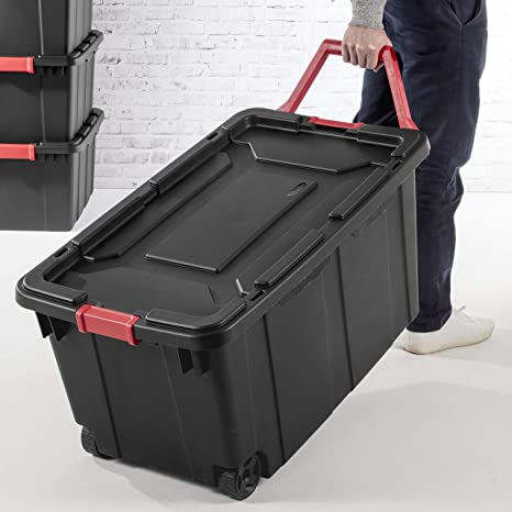 Sterilite 14699002 40 Gallon/151 Liter Wheeled Industrial Tote, Black Lid & Base w/ Racer Red Handle & Latches, 2-Pack