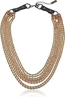 Steve Madden Gold-Tone 8 Layer Rope with Black Leather Buckle Chain Necklace