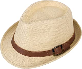 Simplicity Panama Style Trilby Fedora Straw Sun Hat with Leather Belt