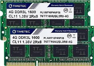 Timetec Hynix IC 8GB Kit(2x4GB) DDR3L 1600MHz PC3L-12800 Non ECC Unbuffered 1.35V CL11 2Rx8 Dual Rank 204 Pin SODIMM Lapto...