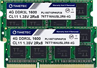 Timetec Hynix IC 8GB Kit (2x4GB) DDR3L 1600MHz PC3L-12800 Non ECC Unbuffered 1.35V CL11 2Rx8 Dual Rank 204 Pin SODIMM Lapt...