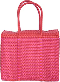 Red and Pink Handwoven 100% Authentic Mexican Basket Bag, Size Large