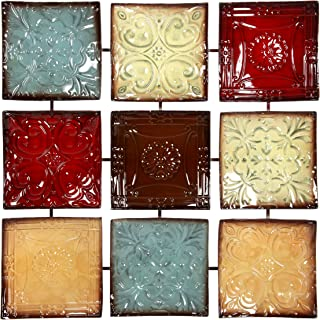 Hosley 24.75 Inch Square Multi Colored Metal Wall Decor Plaque. Abstract. Ideal Gift for..