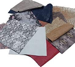 Mardili Printed and Embossed Upholstery Leather Scraps,2LBs Large Pieces,Square(10