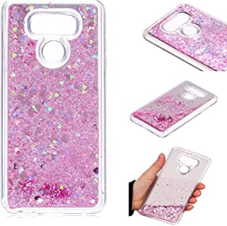 LG G6 Case, KMISS Mirror Luxury Glitter Liquid Floating Bling Sparkle Fashion Creative Design Mirror Bumper Protective Cover LG G6 (Verizon 2017) (Pink)