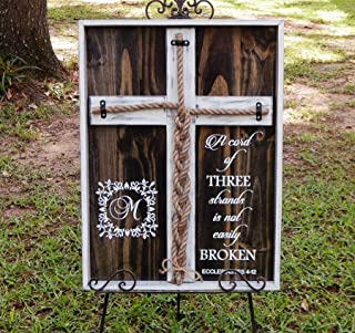 Cord of Three Strands, Wedding Braid Cross Distressed Board Sign, Unity Candle Alternative Custom 24x17 inches