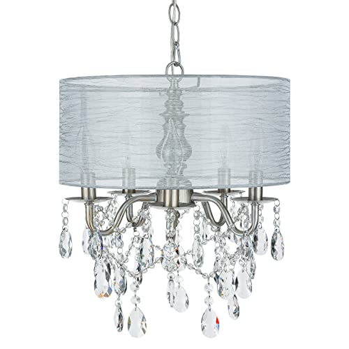 Luna Silver 5 Light Crystal Chandelier With Drum Shade Glass Beaded Swag Plug In
