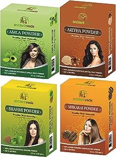 Ancient Veda Amla Powder 100G, Brahmi Powder 100G, Shikakai Powder 100G, Aritha Powder 100G - 1 Complete Hair Care Combo Pack