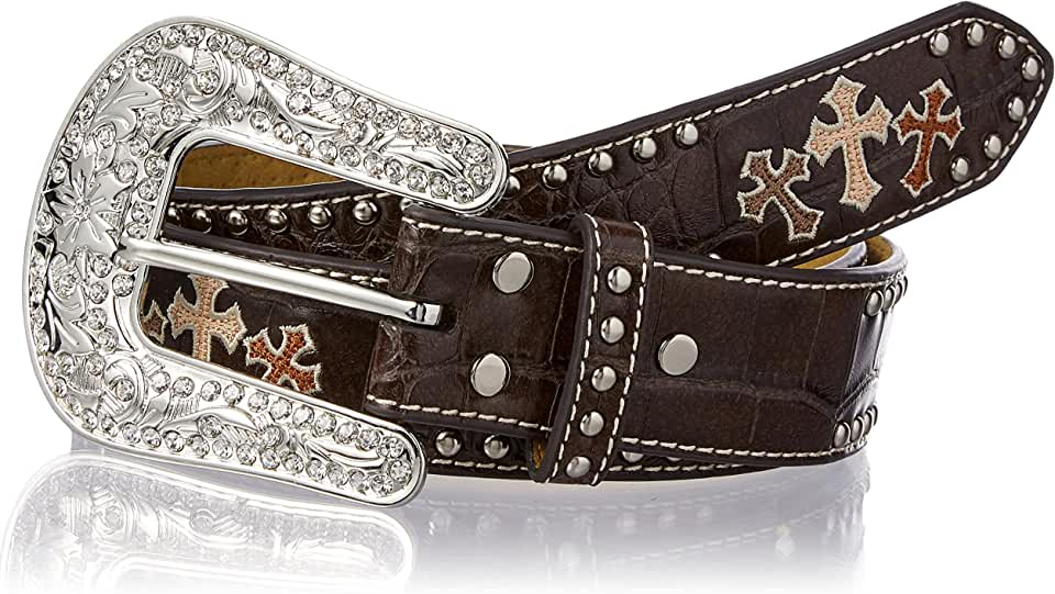 Nocona Belt Co. Women's Crocodile Tri Cross Nail Edge Belt, brown