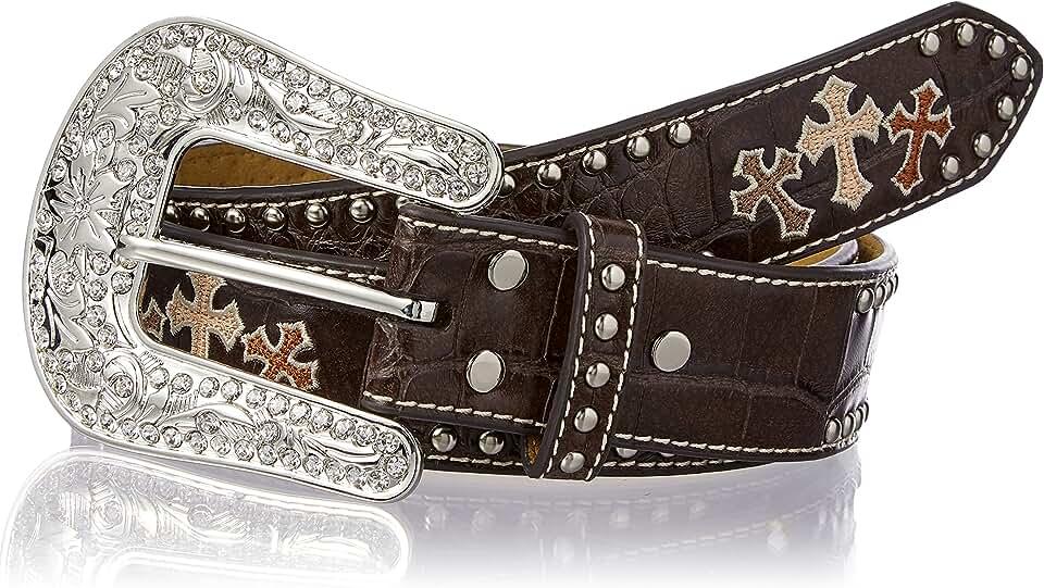 Nocona Belt Co. Women's Crocodile Tri Cross Nail Edge Belt, brown