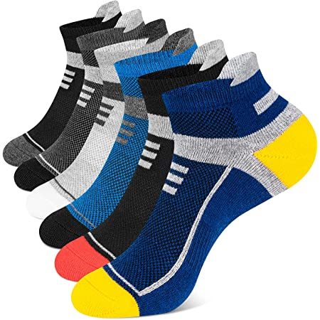 Onmaita Running Socks for Men Women, 6 Pairs Cushioned Trainer Socks Athletic Ankle Socks, Low Cut Anti-Blister Breathable Socks for Sports Walking, Work, Cycling, Hiking