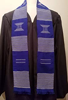 African Kente Cloth Stole Scarf - Blue with White (stripe)